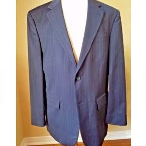 Geoffrey Beene  44L Dark Blue Striped 100% Wool